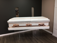 our floating casket display