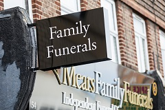 mears family funerals sign