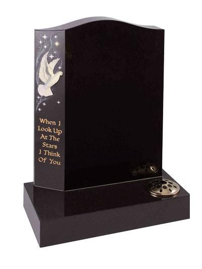 Children's Memorials - Black With Ceramic Dove