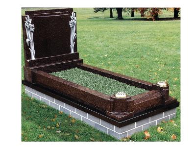 Exclusive Granite Kerb Surround - Thai brown carved headstone