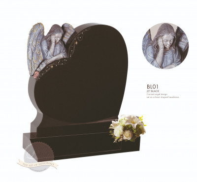 Angel Chapter-Carved Angel On Heart Memorial