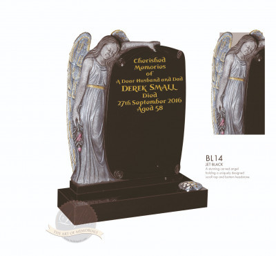 Angel Chapter-Carved Angel & Scroll Memorial