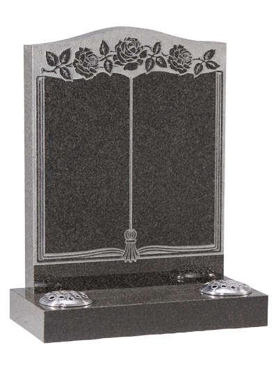 Granite Headstone - With sandblast book design