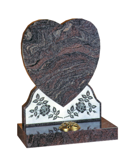 Granite Headstone - Beautiful shaped heart