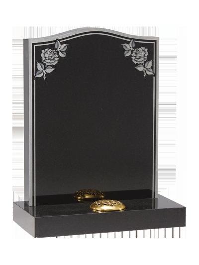 Granite Headstone - Sandblast keyline & rose design
