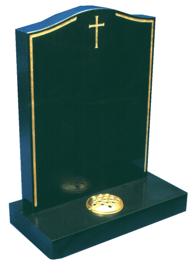 Granite Headstone - Gold keyline & cross design