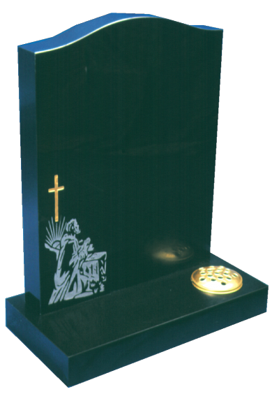 Granite Headstone - Sandblasted Shepherd & cross design