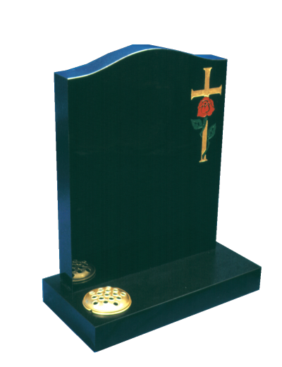 Granite Headstone - Hand painted cross & rose design