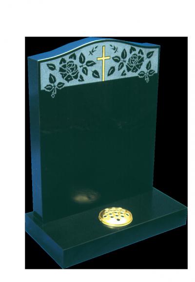 Granite Headstone - Sandblasted cross & roses design