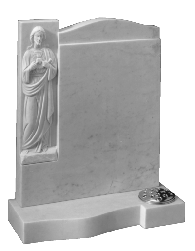 Marble Headstone - With hand carved 'Sacred heart'