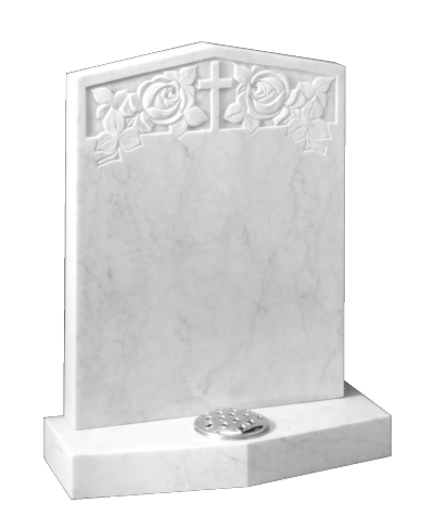 Marble Headstone - Peon shaped headstone and base