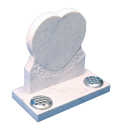Marble Headstone - Shaped and carved heart