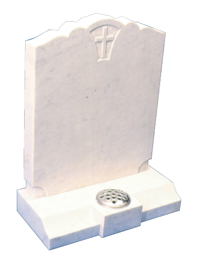 Marble Headstone - Curved top with inset cross in panel