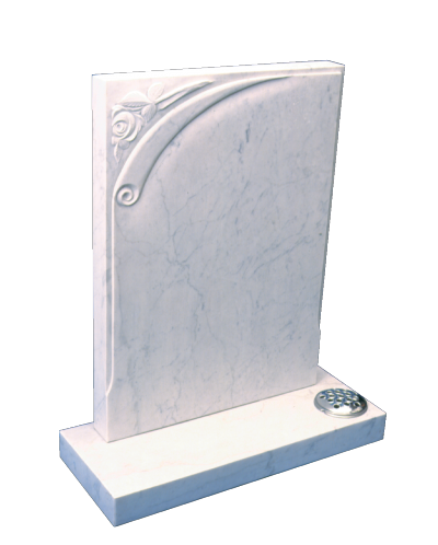 Marble Headstone - Carved scroll and rose design