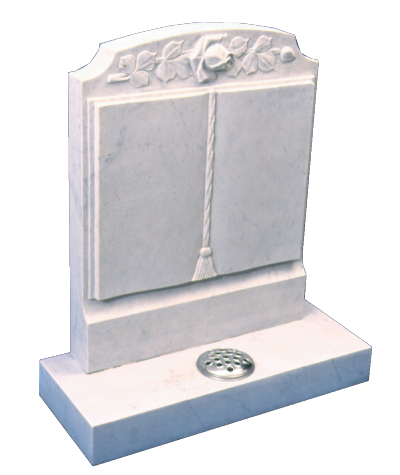 Marble Headstone - Worked book to face