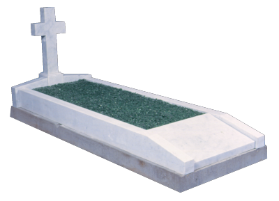 Marble Surround - Cross to head with inscription panel to foot