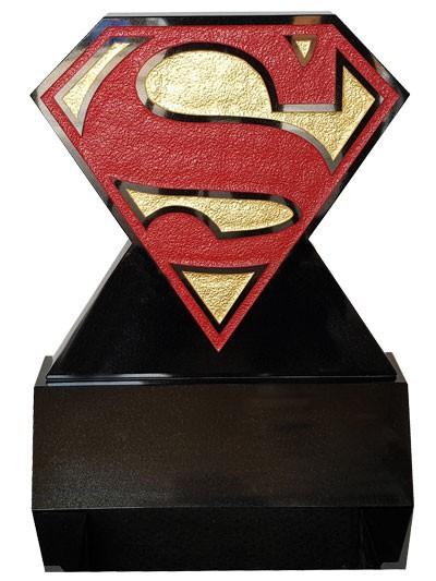 Children's Memorials - Superman Headstone On A Wedge Block Base