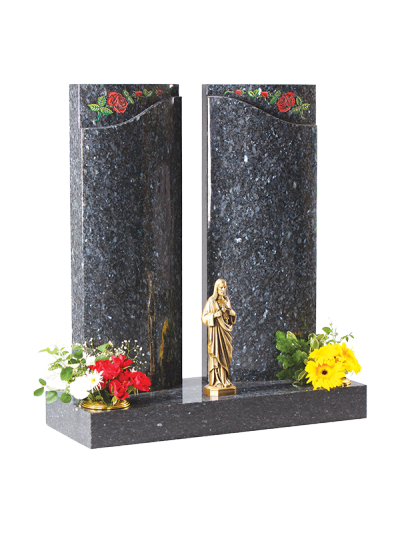 Granite Headstone - Square columns with curved face