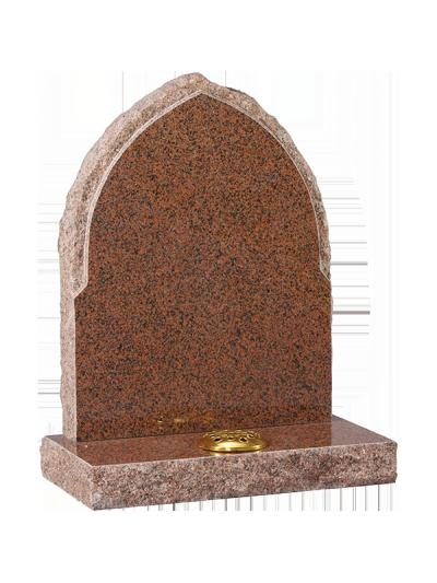 Granite Rustic Headstone - Gothic design with rustic rebate edge