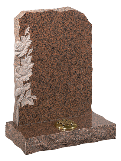 Granite Rustic Headstone - Inset rose carving