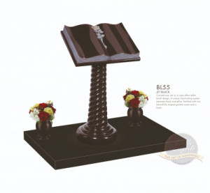 Book & Scroll Chapter-Curved Book with Carved Rose Memorial