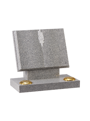 Granite open book - Carved book with hand carved rose design