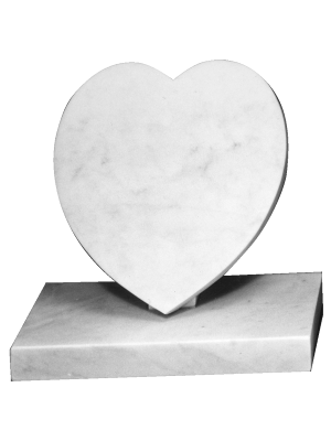 Marble Cremation Memorial - Small heart and base