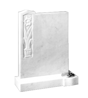 Marble Headstone - Hand carved daffodil