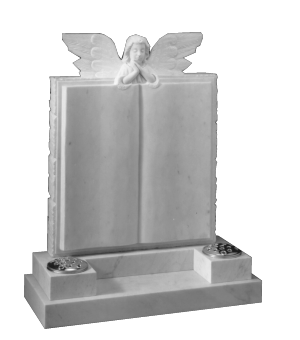 Marble Headstone - Hand carved Angel over book design
