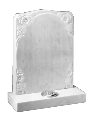 Marble Headstone - Carved roses around oval panel