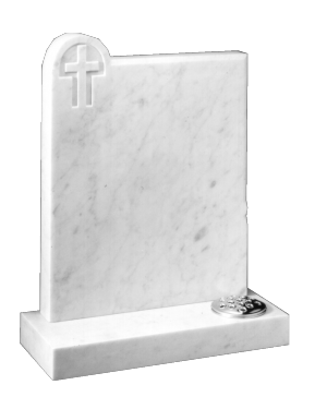 Marble Headstone - Carved inset cross design