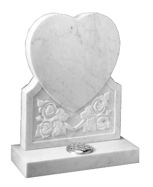 Marble Headstone - Carved heart shape