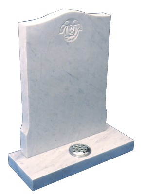 Marble Headstone - Simple carved rose design
