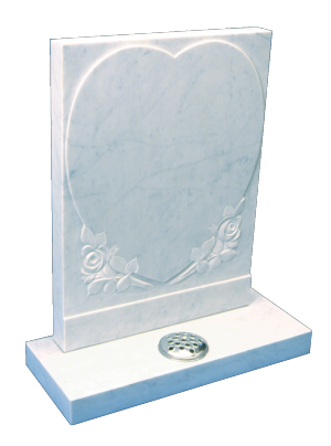 Marble Headstone - Carved heart panel with roses