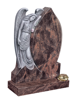 Granite Headstone - Angel resting on a shaped inscription panel