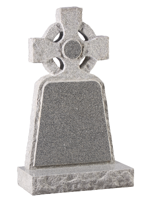 Granite Rustic Headstone - Rustic edged celtic cross