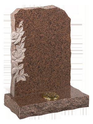 Granite Rustic Headstone - Inset rose carving